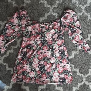 Misguided size 16 floral mini dress puff sleeves